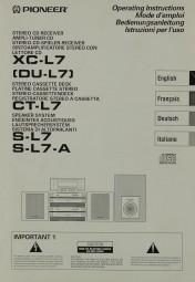 Pioneer XC-L 7 (DU-L 7) / CT-L 7 / S-L 7 / S-L 7-A Bedienungsanleitung