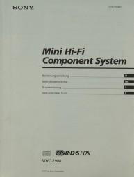 Sony MHC-2900 Bedienungsanleitung