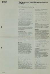 Braun CE 500/1 Schaltplan / Serviceunterlagen