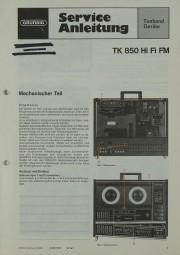 Grundig TK 850 HiFi FM Schaltplan / Serviceunterlagen