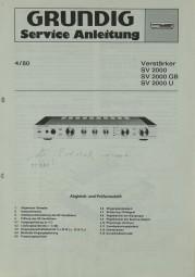 Grundig SV 2000 / SV 2000 GB / SV 2000 U Schaltplan / Serviceunterlagen