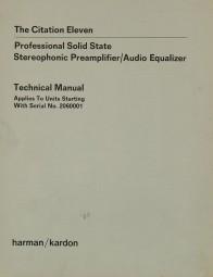 Harman / Kardon Citation Eleven Schaltplan / Serviceunterlagen