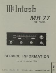 McIntosh MR 77 Schaltplan / Serviceunterlagen